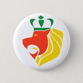 Rasta Reggae Crowned Lion Button