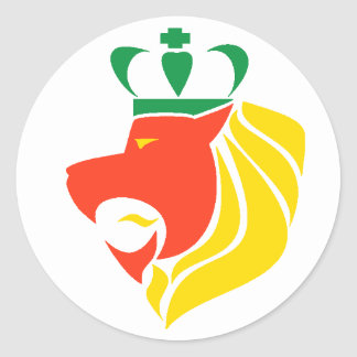 Rasta Reggae Crowned Lion Classic Round Sticker