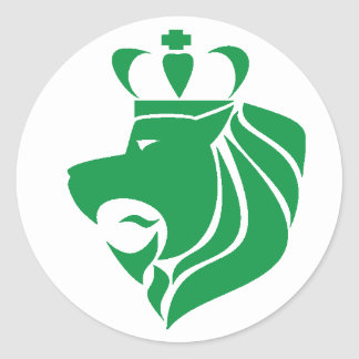 Rasta Reggae Crowned Lion Green Classic Round Sticker