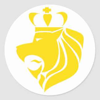 Rasta Reggae Crowned Lion Yellow Classic Round Sticker
