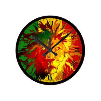 rasta reggae lion flag round clock