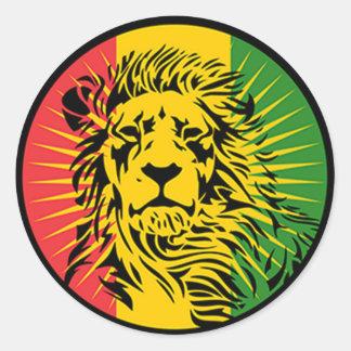 rasta reggae lion flag round sticker