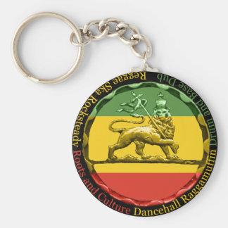 Rasta Reggae Lion Keyring Basic Round Button Key Ring