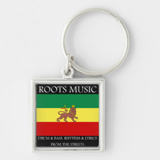 Rasta - Roots Music Ethiopia Flag Lion of Judah Silver-Colored Square Key Ring
