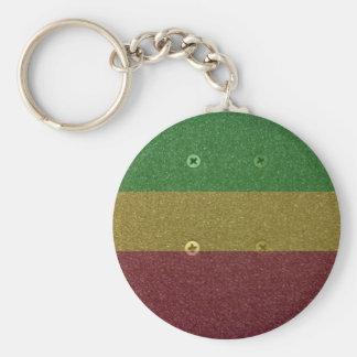 Rasta Skateboard Griptape Basic Round Button Key Ring