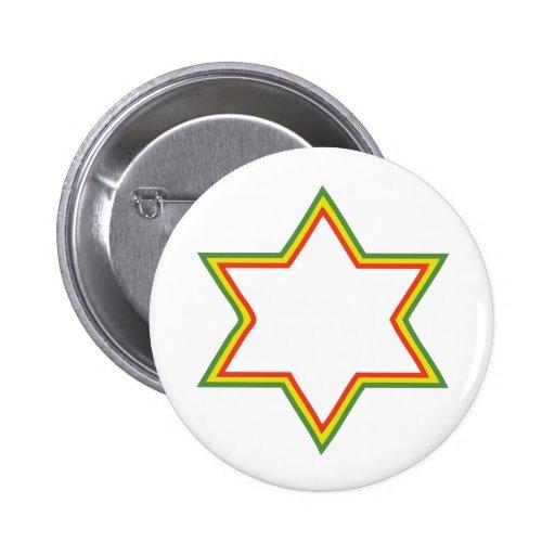 Rasta Star of David 6 Cm Round Badge
