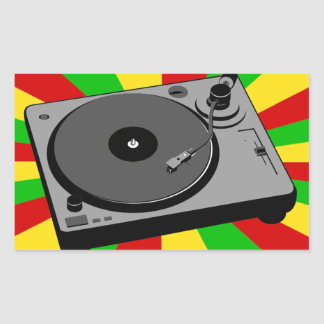 Rasta Turntable Rectangle Sticker