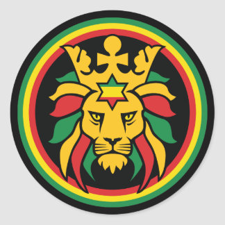 Rastafari Dreadlocks Lion of Judah Round Sticker