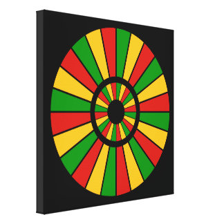 RASTAFARI FLAG BUTTON RAYS + your sign or monogram Gallery Wrapped Canvas