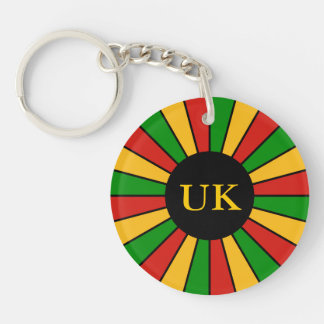RASTAFARI FLAG BUTTON RAYS + your sign or monogram Double-Sided Round Acrylic Key Ring