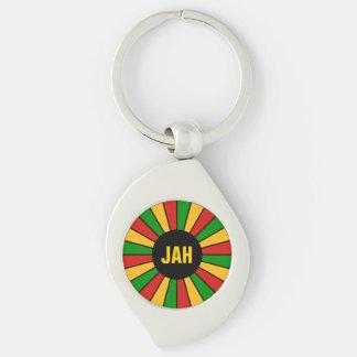 RASTAFARI FLAG BUTTON RAYS + your sign or monogram Silver-Colored Swirl Key Ring