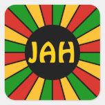 RASTAFARI FLAG BUTTON RAYS + your sign or monogram Stickers