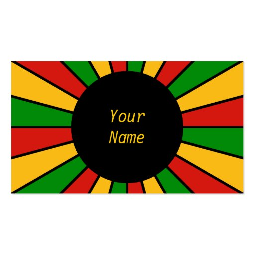 RASTAFARI FLAG BUTTON RAYS + your sign or text Business Cards