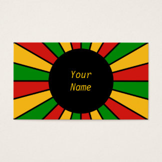 RASTAFARI FLAG BUTTON RAYS + your sign or text Business Card