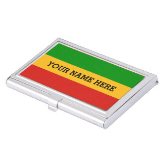 RASTAFARI FLAG COLORS + your text Case For Business Cards