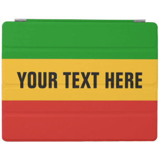 RASTAFARI FLAG COLORS + your text iPad Cover