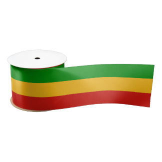 RASTAFARI FLAG COLORS + your text Satin Ribbon