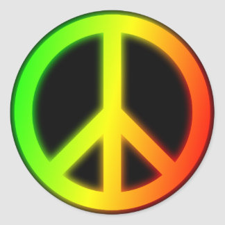 Rastafarian Peace Sign Classic Round Sticker