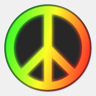 Rastafarian Peace Sign Classic Round Sticker