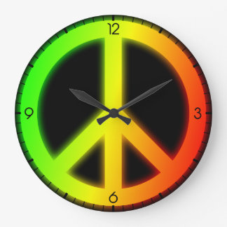 Rastafarian Peace Sign Large Clock