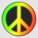 Rastafarian Peace Sign Round Stickers