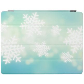 Raster illustration of glowing snowflakes iPad smart cover