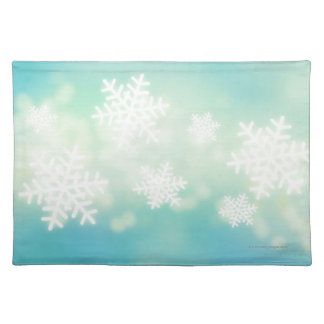 Raster illustration of glowing snowflakes placemats