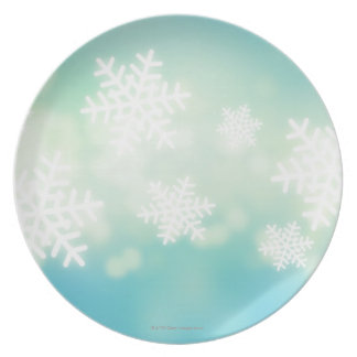 Raster illustration of glowing snowflakes plate