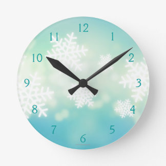 Raster illustration of glowing snowflakes round clock