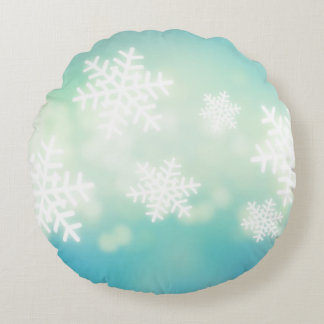 Raster illustration of glowing snowflakes round cushion