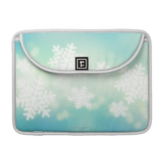 Raster illustration of glowing snowflakes sleeve for MacBook pro