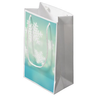 Raster illustration of glowing snowflakes small gift bag