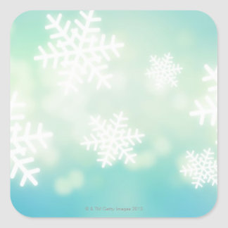 Raster illustration of glowing snowflakes square sticker
