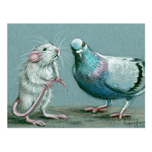 Rat and Pigeon Postcard