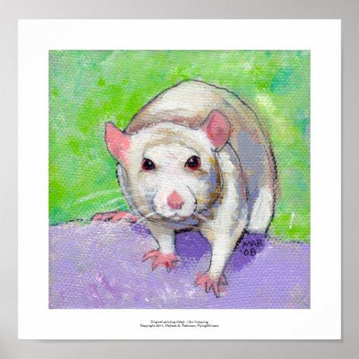 Rat art cute pet fun painting friendly white rats posters