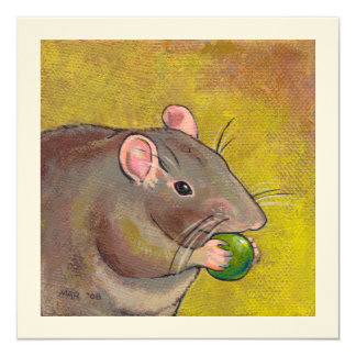 Rat art - fun original painting - cute pet rodent 13 cm x 13 cm square invitation card