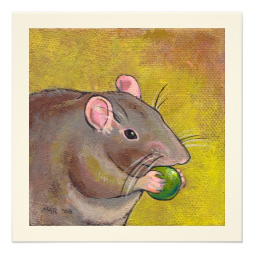 Rat art - fun original painting - cute pet rodent personalized invitation