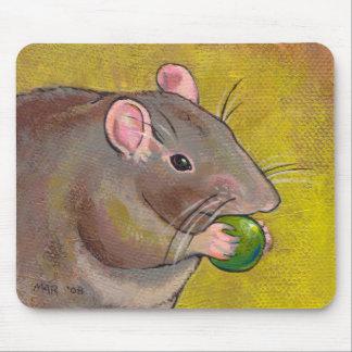 Rat art - fun original painting - cute pet rodent mouse pad