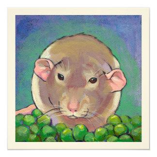 Rat art pet dumbo gray and white sweet peas 13 cm x 13 cm square invitation card
