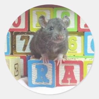rat block classic round sticker