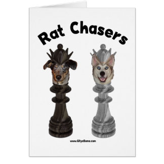 Rat Chasers Chess Dogs Note Card