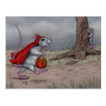 Rat devil halloween walking post card
