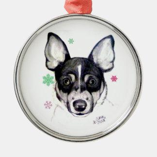 Rat Fox Terrier Christmas Ornament