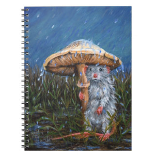 Rat in rain under mushroom Notebook