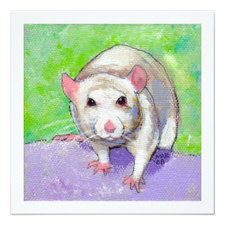Rat lover art fun colorful pet listenin white rats 13 cm x 13 cm square invitation card
