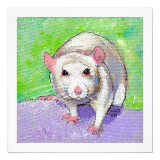 Rat lover art fun colorful pet listenin white rats invitation