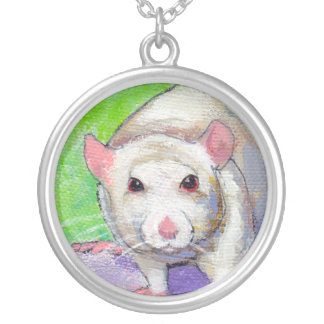 Rat lover pendant cute white pet painting art