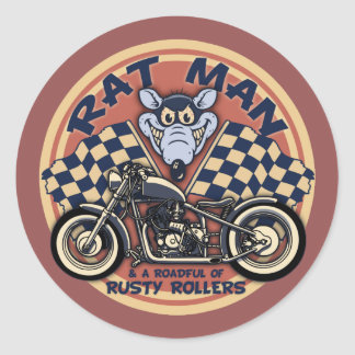 Rat Man Roadful Classic Round Sticker