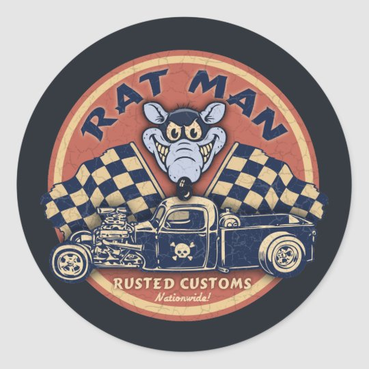 Rat Man Rusted Customs Classic Round Sticker
