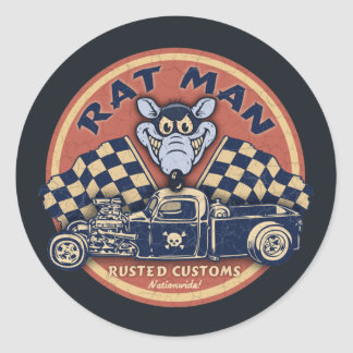 Rat Man Rusted Customs Round Sticker